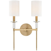 Amherst 2 Light 13 inch Aged Brass Wall Sconce Wall Light, Crystal Bobeches