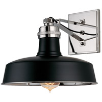 Hudson Falls 1 Light 10 inch Black and Polished Nickel Wall Sconce Wall Light in Black Polished Nickel