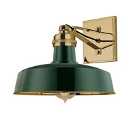 Hudson Valley Lighting Hudson Falls 1 Light Wall Sconce in Green Aged Brass 8601-GAGB