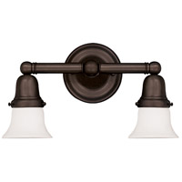 Historic 2 Light 14 inch Old Bronze Bath And Vanity Wall Light in 341