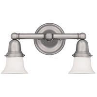 Historic 2 Light 14 inch Satin Nickel Bath And Vanity Wall Light in 341