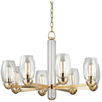 Hudson Valley Lighting Pamelia 8 Light Fluorescent Chandelier in Aged Brass 8848-AGB