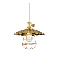 Hudson Valley Lighting Heirloom 1 Light Pendant in Aged Brass with Wire Bulb Guard 9001-AGB-MS2-WG