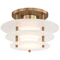Gatsby LED 12 inch Aged Brass Flush Mount Ceiling Light, Spanish Alabaster