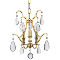Crawford 3 Light 13 inch Aged Brass Semi Flush Ceiling Light