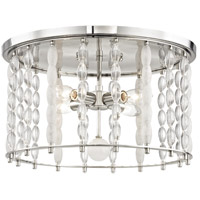 Whitestone 4 Light 17 inch Polished Nickel Flush Mount Ceiling Light, Crystal Beads and Finials