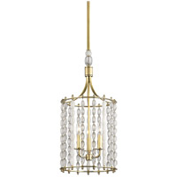 Whitestone 3 Light 11 inch Aged Brass Pendant Ceiling Light, Crystal Beads and Finials