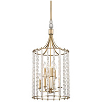 Whitestone 8 Light 16 inch Aged Brass Pendant Ceiling Light, Crystal Beads and Finials
