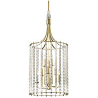 Whitestone 9 Light 21 inch Aged Brass Pendant Ceiling Light, Crystal Beads and Finials