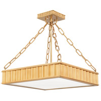 Hudson Valley 933-AGB Middlebury 3 Light 16 inch Aged Brass Semi Flush Ceiling Light