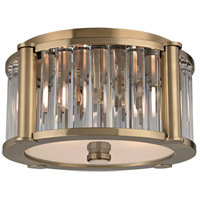 Hartland 2 Light 12 inch Aged Brass Flush Mount Ceiling Light