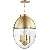 Hudson Valley 9514-AGB Kennedy 4 Light 14 inch Aged Brass Pendant Ceiling Light