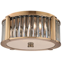 Hartland 3 Light 15 inch Aged Brass Flush Mount Ceiling Light