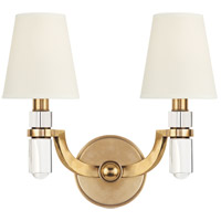 Dayton 2 Light 14 inch Aged Brass Wall Sconce Wall Light in White Faux Silk