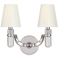 Hudson Valley 982-PN-WS Dayton 2 Light 14 inch Polished Nickel Wall Sconce Wall Light in White Faux Silk