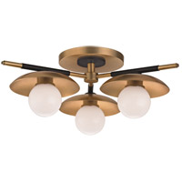 Julien LED 13 inch Aged Brass Semi-Flush Ceiling Light, Opal Matte