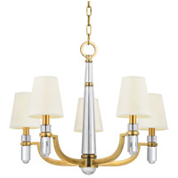 Dayton 5 Light 25 inch Aged Brass Chandelier Ceiling Light in White Faux Silk