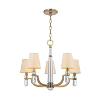 Dayton 5 Light 25 inch Aged Brass Chandelier Ceiling Light in Eco Paper