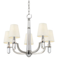 Dayton 5 Light 25 inch Polished Nickel Chandelier Ceiling Light in White Faux Silk