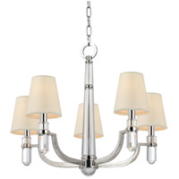 Hudson Valley 985-PN Dayton 5 Light 25 inch Polished Nickel Chandelier Ceiling Light in Eco Paper