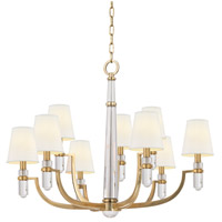 Hudson Valley 989-AGB-WS Dayton 9 Light 33 inch Aged Brass Chandelier Ceiling Light in White Faux Silk