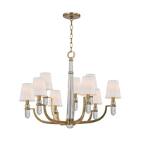Hudson Valley Lighting Dayton 9 Light Chandelier in Aged Brass with Eco Paper Shade 989-AGB