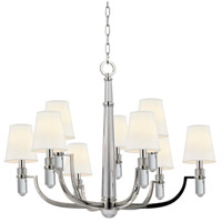 Dayton 9 Light 33 inch Polished Nickel Chandelier Ceiling Light in White Faux Silk