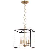 Hudson Valley BKO150-AGB/BK Richie 4 Light 6 inch Aged Brass and Textured Black Pendant Ceiling Light