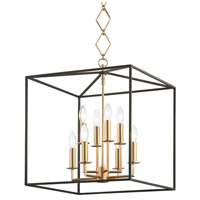 Richie 8 Light 6 inch Aged Brass and Textured Black Pendant Ceiling Light