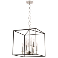 Richie 8 Light 6 inch Polished Nickel and Textured Black Pendant Ceiling Light