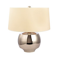 Holden 15 inch 0 watt Polished Nickel Portable Table Lamp Portable Light in White Faux Silk