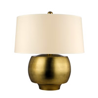 Hudson Valley Lighting Holden 1 Light Portable Table Lamp in Aged Brass with White Faux Silk Shade L166-AGB-WS