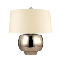 Hudson Valley Lighting Holden 1 Light Portable Table Lamp in Polished Nickel with White Faux Silk Shade L166-PN-WS