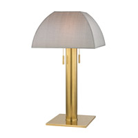 Hudson Valley Lighting Alba 2 Light Table Lamp in Aged Brass with Silver Silk Shade L246-AGB-S