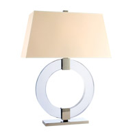 Hudson Valley Lighting Roslyn 1 Light Portable Table Lamp in Polished Nickel with White Faux Silk Shade L608-PN-WS