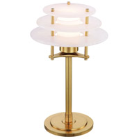 Gatsby 14 inch 12 watt Aged Brass Desk Lamp Portable Light, Spanish Alabaster