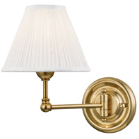 Hudson Valley MDS101-AGB Classic No. 1 1 Light 8 inch Aged Brass Wall Sconce Wall Light in Off-White Pleated Silk