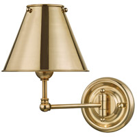 Hudson Valley MDS101-AGB-MS Classic No. 1 1 Light 8 inch Aged Brass Wall Sconce Wall Light