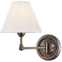 Hudson Valley MDS101-DB Classic No. 1 1 Light 8 inch Distressed Bronze Wall Sconce Wall Light in Off-White Pleated Silk