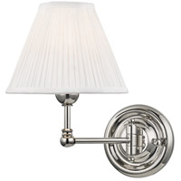 Hudson Valley MDS101-PN Classic No. 1 1 Light 8 inch Polished Nickel Wall Sconce Wall Light in Off-White Pleated Silk