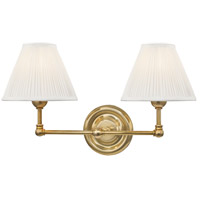Classic No. 1 2 Light 18 inch Aged Brass Wall Sconce Wall Light in Off-White Pleated Silk
