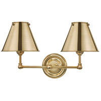 Hudson Valley MDS102-AGB-MS Classic No. 1 2 Light 18 inch Aged Brass Wall Sconce Wall Light