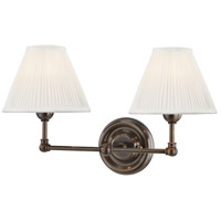 Hudson Valley MDS102-DB Classic No. 1 2 Light 18 inch Distressed Bronze Wall Sconce Wall Light in Off-White Pleated Silk