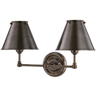 Classic No. 1 2 Light 18 inch Distressed Bronze Wall Sconce Wall Light