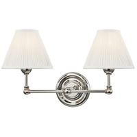 Hudson Valley MDS102-PN Classic No. 1 2 Light 18 inch Polished Nickel Wall Sconce Wall Light in Off-White Pleated Silk