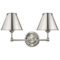 Classic No. 1 2 Light 18 inch Polished Nickel Wall Sconce Wall Light