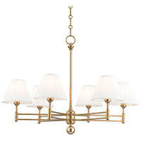 Hudson Valley MDS105-AGB Classic No. 1 6 Light 32 inch Aged Brass Chandelier Ceiling Light photo thumbnail