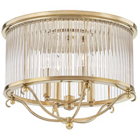 Glass No. 1 4 Light 19 inch Aged Brass Semi Flush Ceiling Light