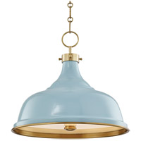 Painted No. 1 3 Light 18 inch Aged Brass Pendant Ceiling Light in Blue Bird Steel