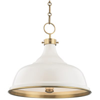 Painted No. 1 3 Light 18 inch Aged Brass Pendant Ceiling Light in Off-White Steel